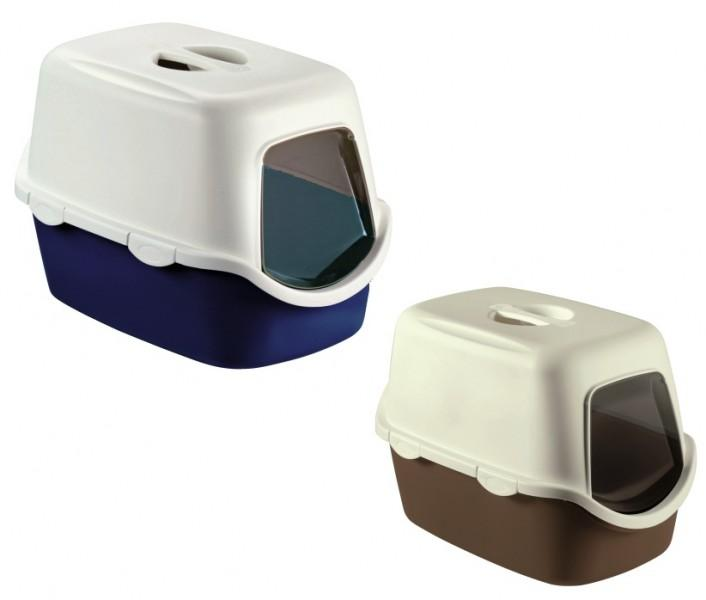 Tualete kaķiem slēgtā CATHY ar filtru 56x40x40 cm bordo/ziloņkauls